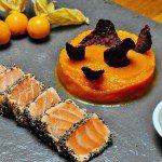 Tataki de saumon aux trois graines et purée automnale