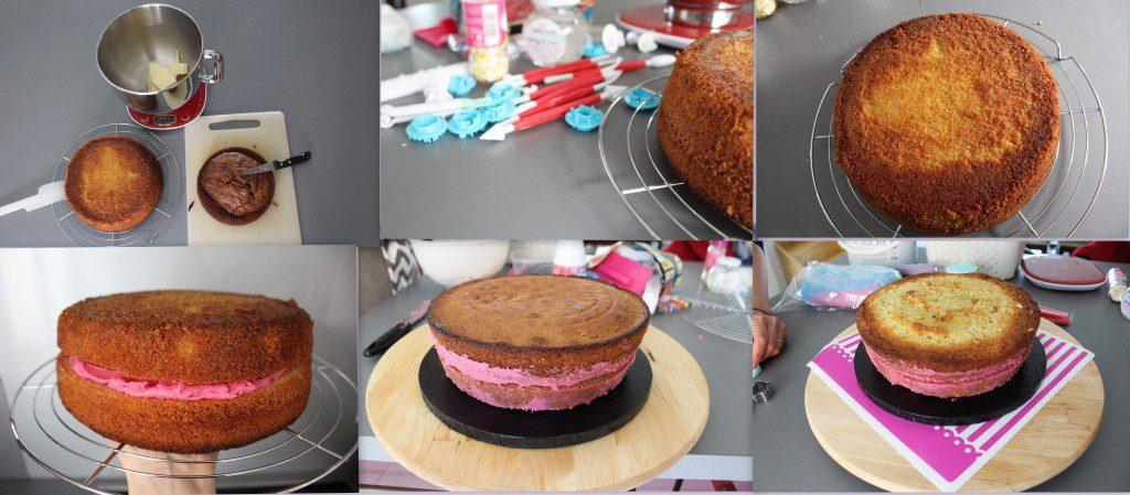 ETAPE 1 : préparer les sponges cake et les ganrnir