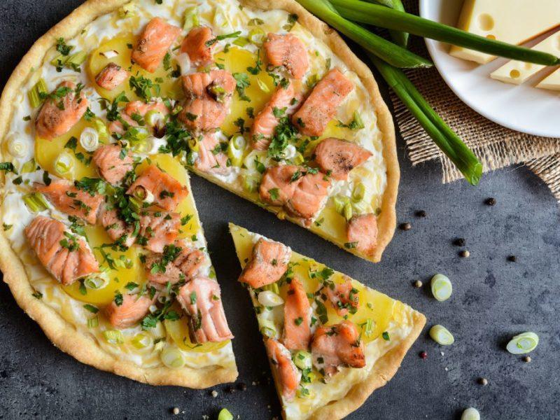 Quiche d'été : saumon, chèvre, poireaux et ananas