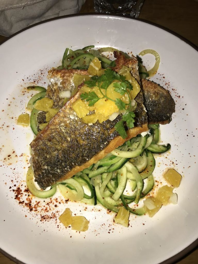 Sea bass and zoodles
