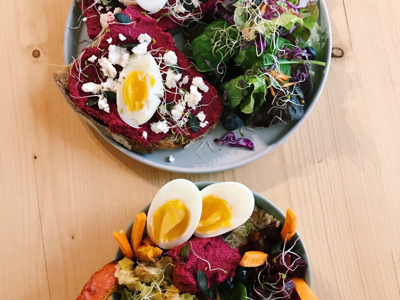 Veggie bowl and toast of the day